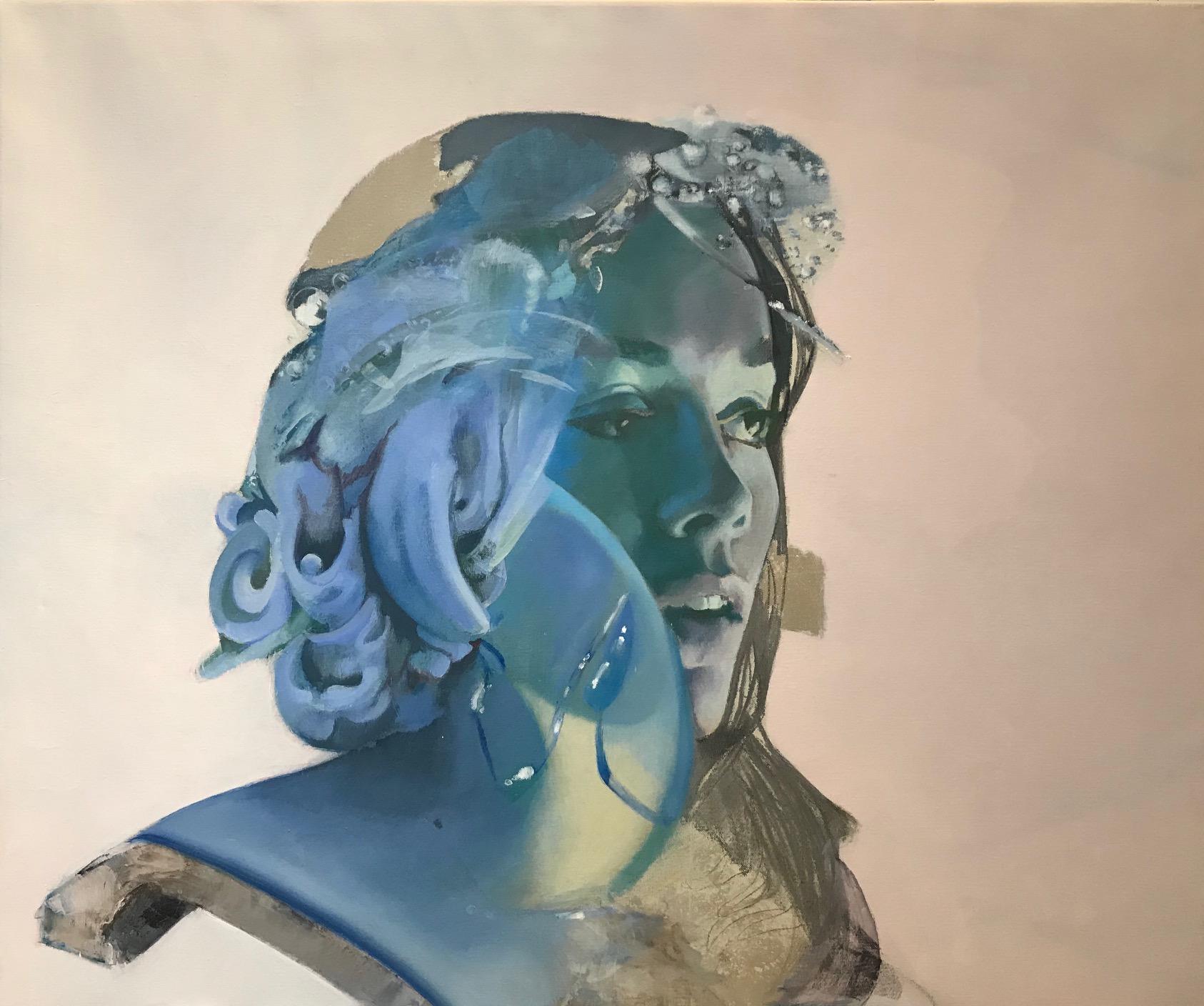 La Soeur Cosmique, Contemporary Abstract Oil Painting Canvas Woman Portrait Blue