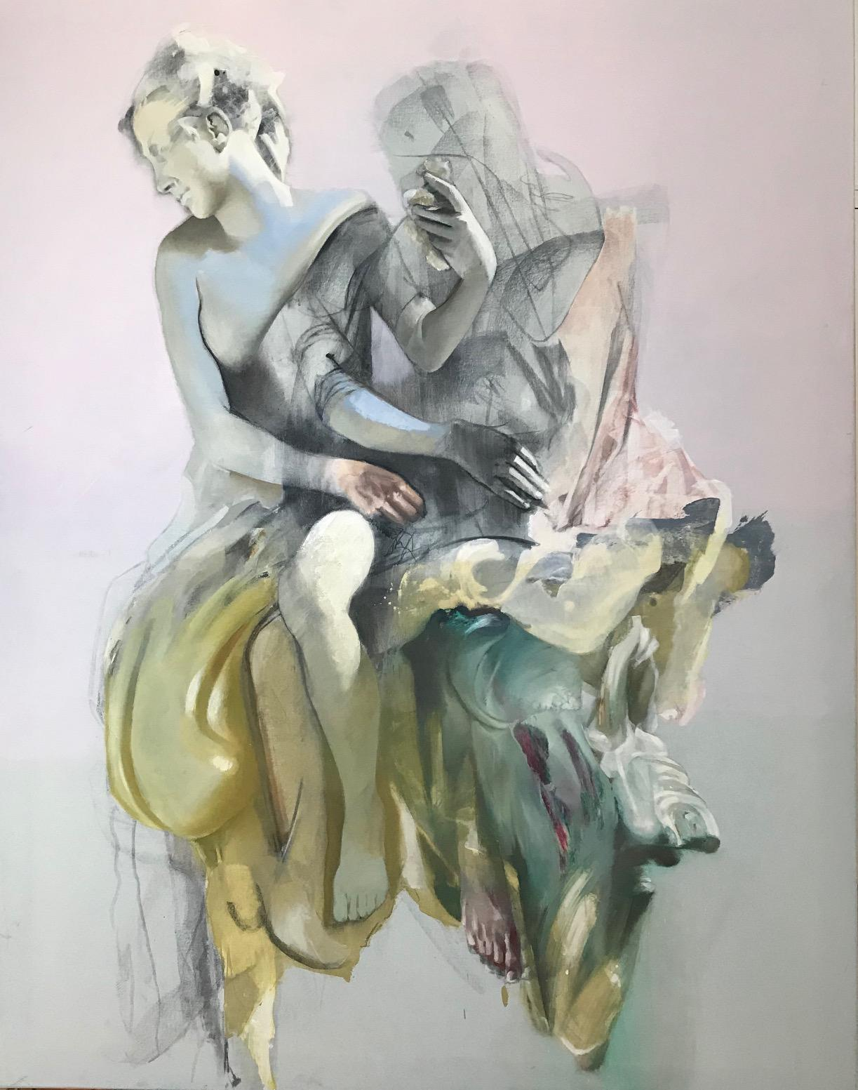 La Invités, Contemporary Abstract Oil Painting Canvas Sculpture Pink Fine Art