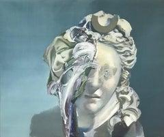 Nuit de Homard, Contemporary Abstract Oil Painting Blue White Portrait Sculpture