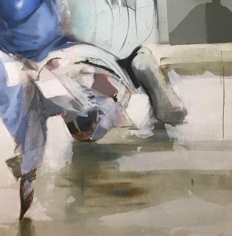 Ravi de Vous Voir, Contemporary Abstract Art Oil Painting Canvas Portrait Blue For Sale 1