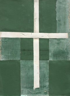 Croix, Antoine Puisais, Contemporary Abstract Mixed Media, Green, Collage, Cross