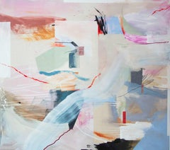 Process Place, Modern Abstract Art Mixed Media Painting Canvas Pink Blue Collage