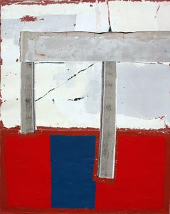 Hounds of Love, Contemporary Abstract Art Mixed Media Painting Red Blue Collage
