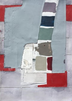 Long Sleeves, Contemporary Art Abstract Mixed Media Red Blue Collage Canvas