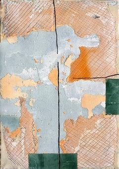 Nile Green, Contemporary Abstract Art Mixed Media Green Orange Collage Canvas