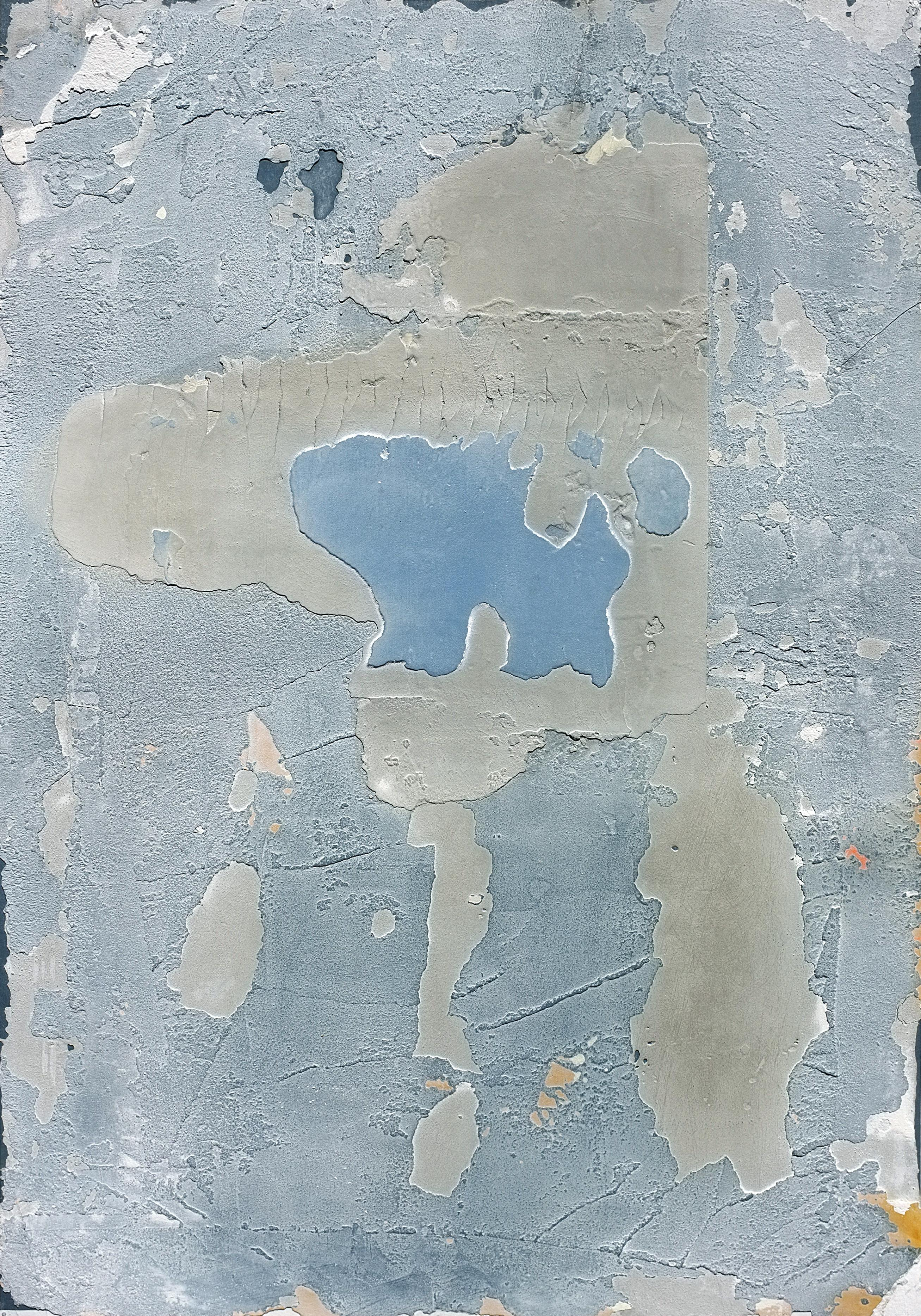 Abuja, Contemporary Abstract Minimalist Art Mixed Media Blue Small Collage Paper