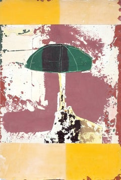 Asmara, Contemporary Abstract Art Mixed Media Yellow Small Collage Canvas Green