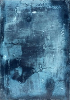 Deep Blue, Contemporary Minimalist Abstract Mixed Media Small Collage Blue Paper