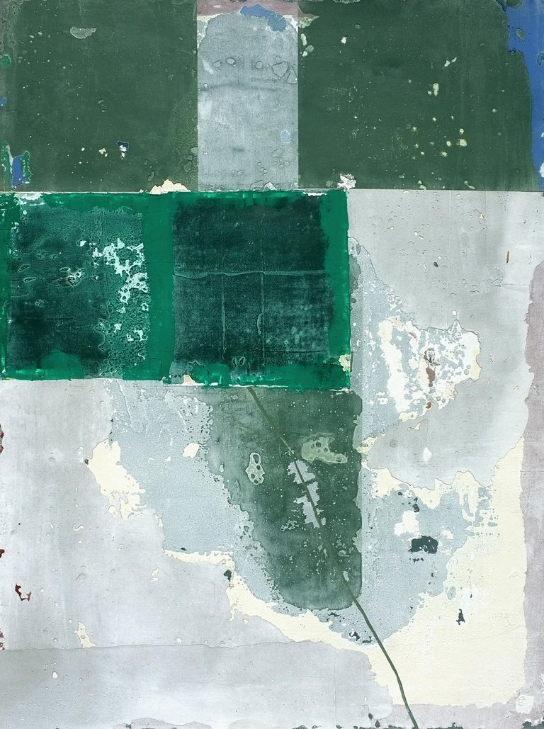 'Mopi'  is a bright minimalist abstract mixed media painting by French artist - Antoine Puisais. It is a small green contemporary art collage on linen canvas with a neutral design and authentic, raw aesthetic. Its beautiful monochromatic style will