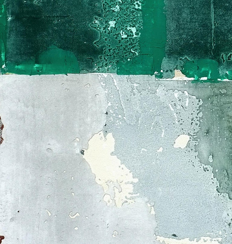 Mopi, Contemporary Abstract Mixed Media Art Green Collage Canvas Geometric For Sale 1