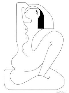 La Signorita, Contemporary Abstract Minimalist Portrait Drawing Black Ink Paper