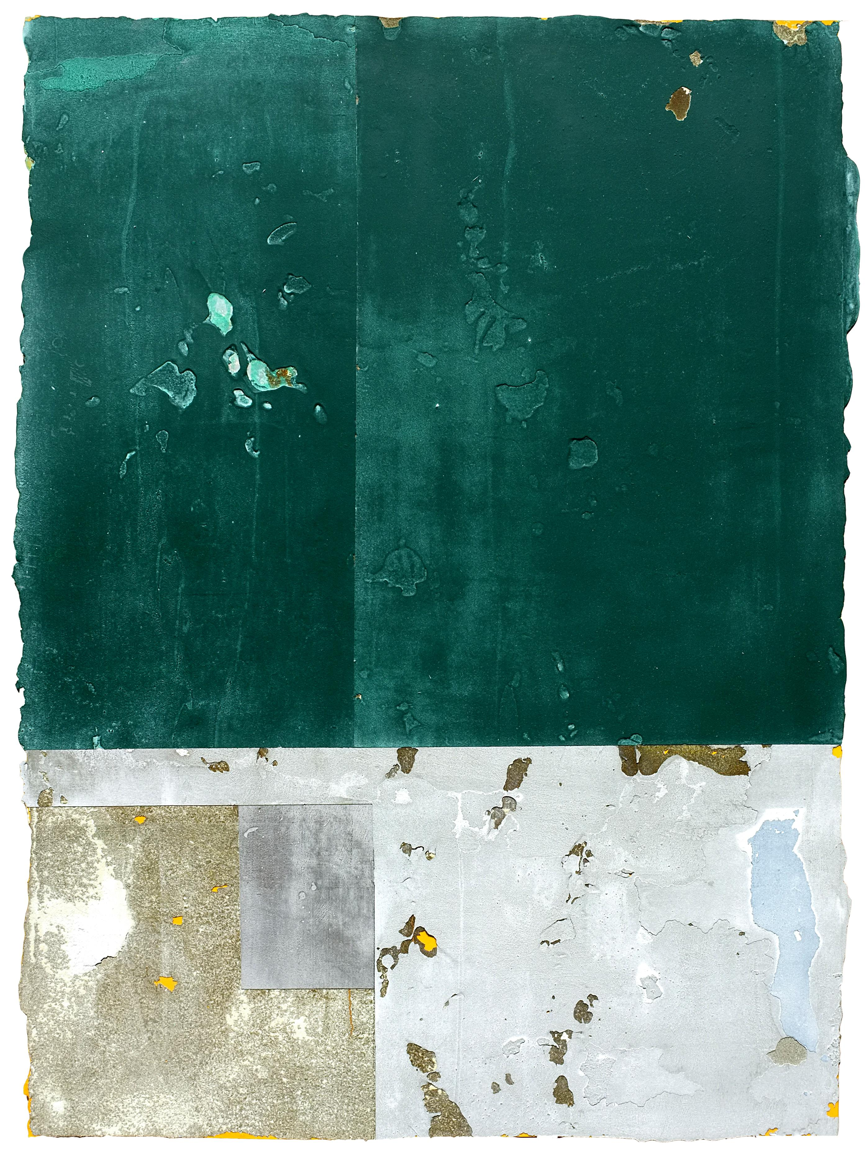 Tropical Modernism, Contemporary Abstract Art Mixed Media Green Collage Paper