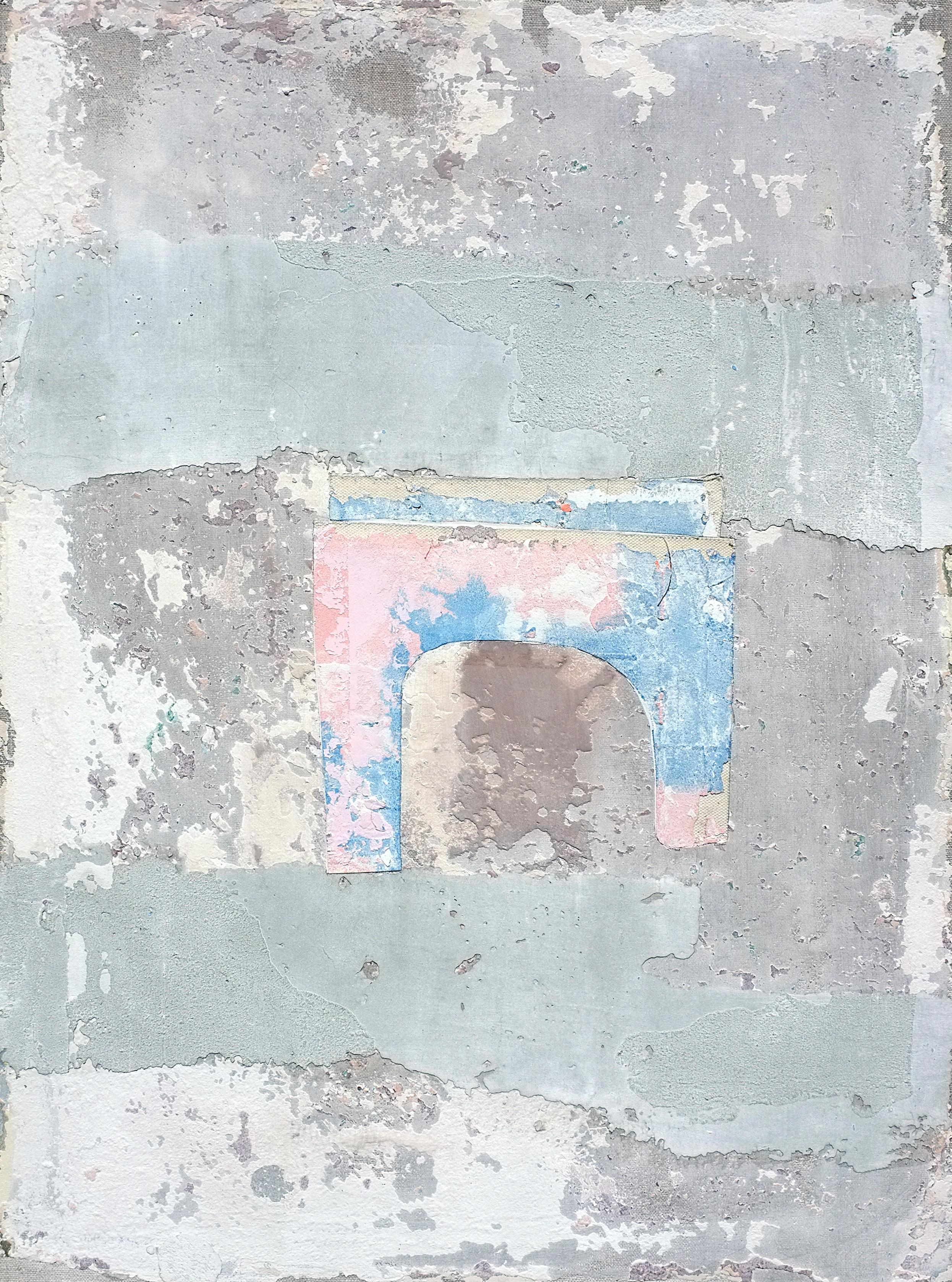 Temple, Contemporary Abstract Mixed Media Gray Grey Collage Minimalist Art