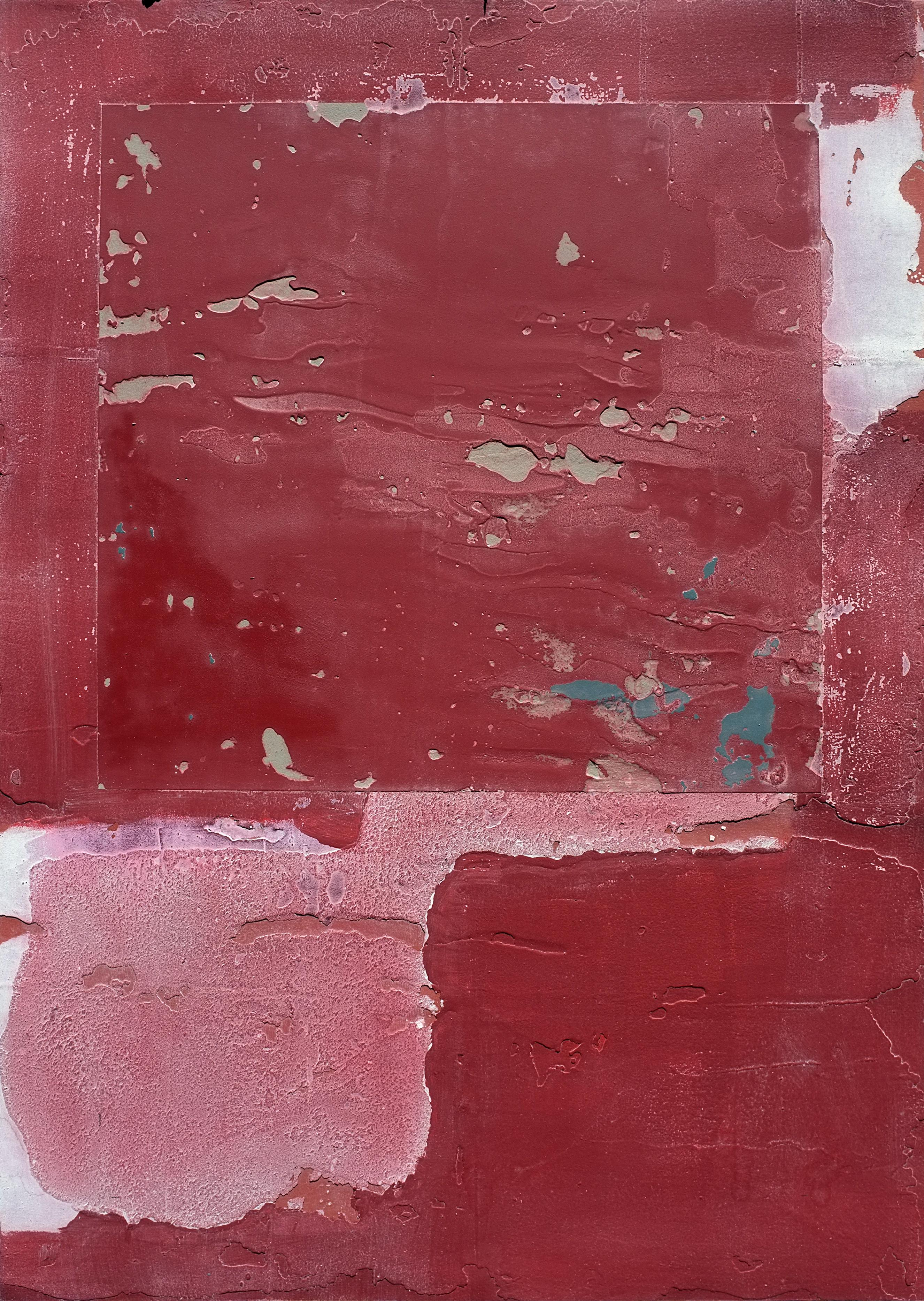 ZL, Contemporary Minimalist Abstract Art Mixed Media Small Red Red Collage Paper