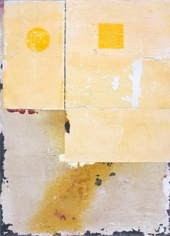 YDS, Contemporary Minimalist Abstract Mixed Media Art Yellow Collage Linen