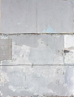 Untitled Grey, Contemporary Minimalist Abstract Mixed Media Gray White Collage