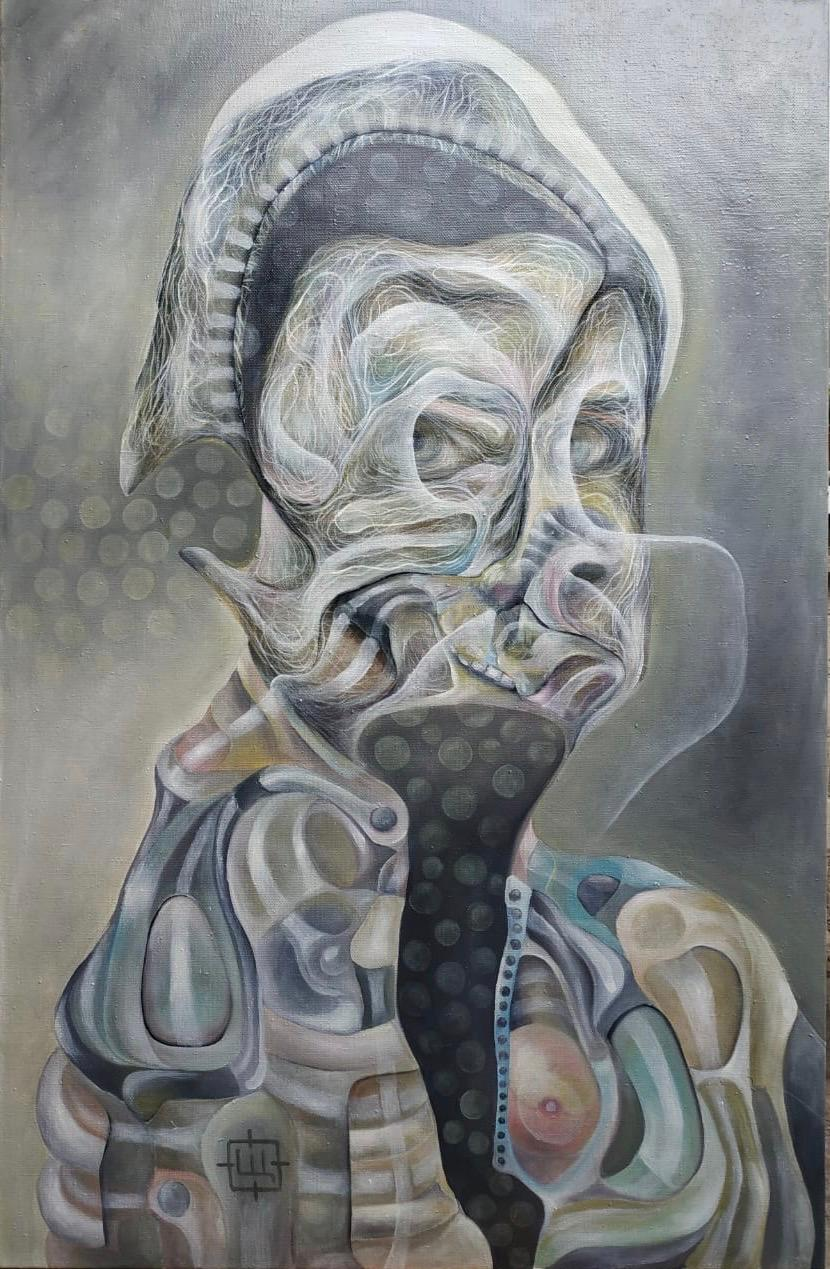 Luminous 413, Contemporary Abstract Oil Painting Canvas Portrait Grey Gray Art