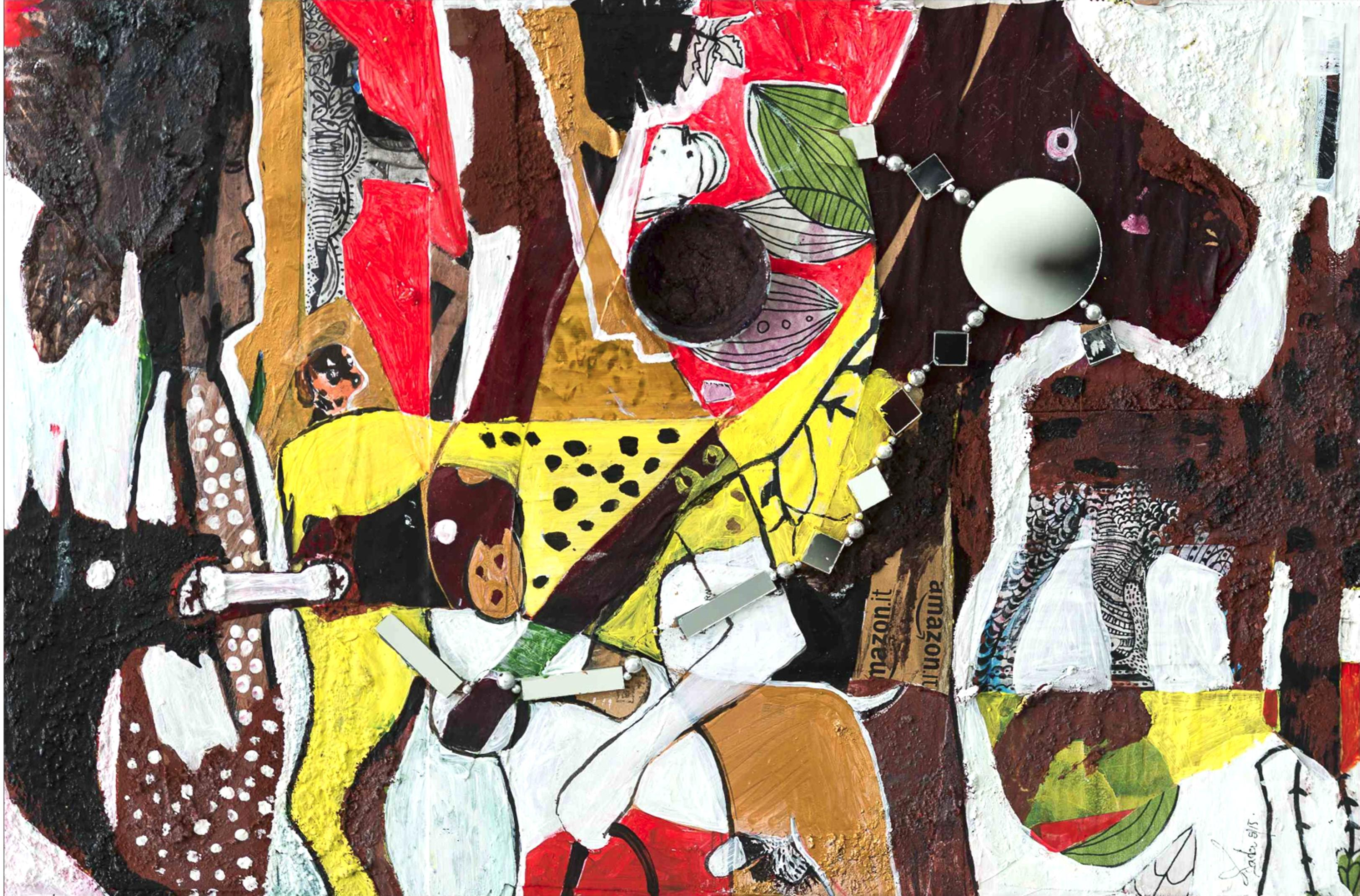 Lagos Dog Show, Contemporary Abstract African Mixed media Painting Collage Red
