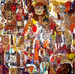 The Triumphant Entry, Contemporary Abstract African Mixed media Painting Collage