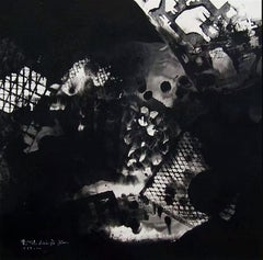 Floating Landscape, Contemporary Asian Abstract Painting Black White Ink Chinese