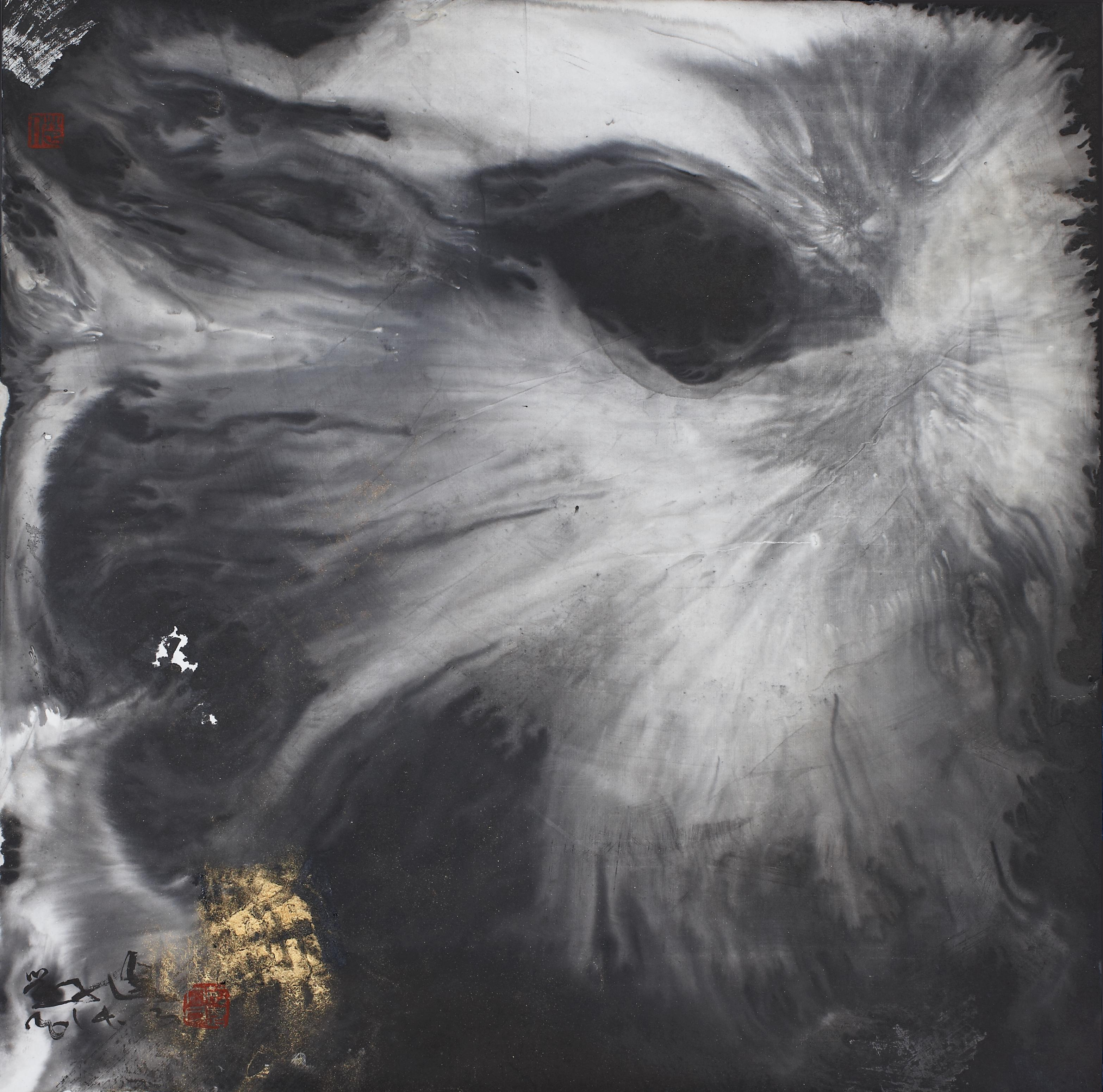 Shimmering Moon I, Contemporary Asian Abstract Painting Black White Ink Chinese