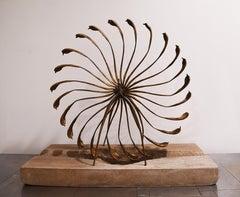 Thomas Beckman, Involute, bronze on stone base, 1990s