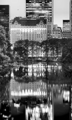 Central Park, New York City Black and White Photograph, Pond and Reflection