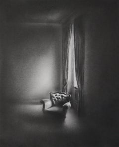 Simon Schubert, graphite drawing, photo realist, architectural, light, armchair