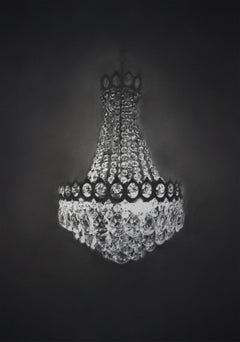 Simon Schubert, crystal chandelier, ornate, graphite drawing, photo realist,