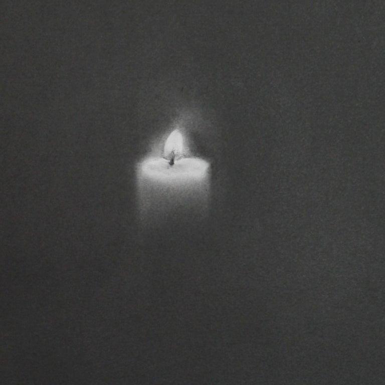Simon Schubert, Candle, flame, graphite drawing, photo realist,  2