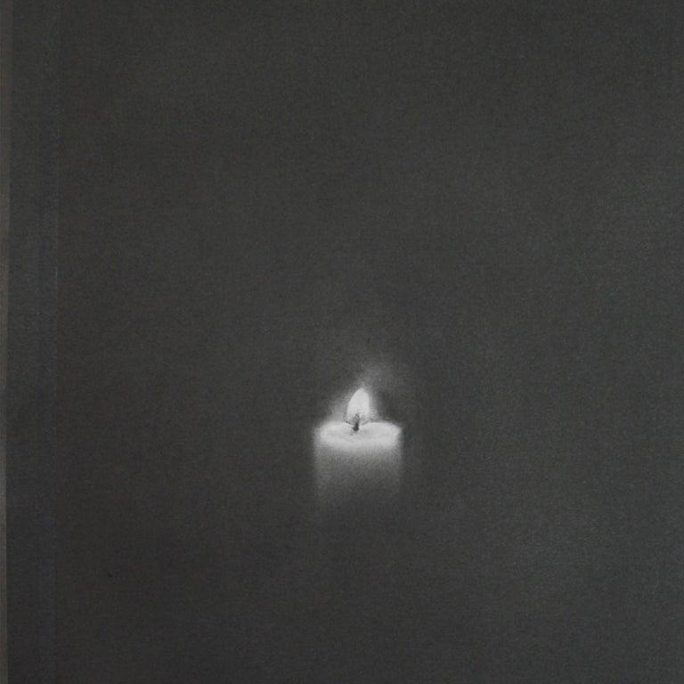 Simon Schubert, Candle, flame, graphite drawing, photo realist,  3