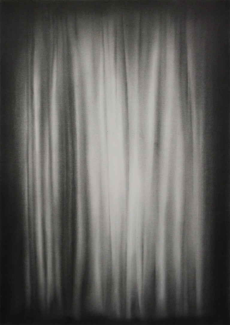 Simon Schubert, Bedroom Curtain, graphite drawing, photo realist,  1