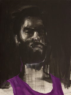 Esteban Ocampo-Giraldo Selfie With Purple Tank Top, 2016, Oil/acrylic on canvas