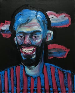 Esteban Ocampo-Giraldo, Selfie with Creepy Smile, 2018, oil on canvas, 20 x 16in