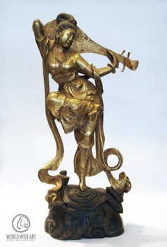 KWAN-YIN (QUAN YIN, GUAN YIN) ANTIQUE CHINESE, GILDED BRONZE STATUE WITH PIPA