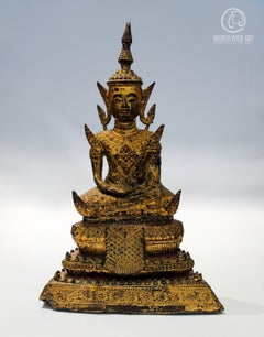 EXCEPTIONAL ANTIQUE BUDDHA, BURMA, EARLY 19th CENTURY, GILDED BRONZE