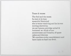 Tense & Tenses  –  ink on paper, poem, edition, black and white