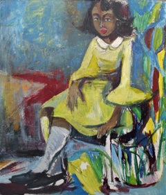 Bernard Harmon, Girl in a Yellow Dress, Oil on Board, 1968