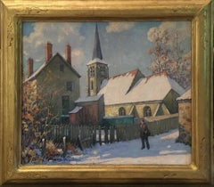 Albert Van Nesse Greene, Old Swede's Church, Winter, Oil on Canvas