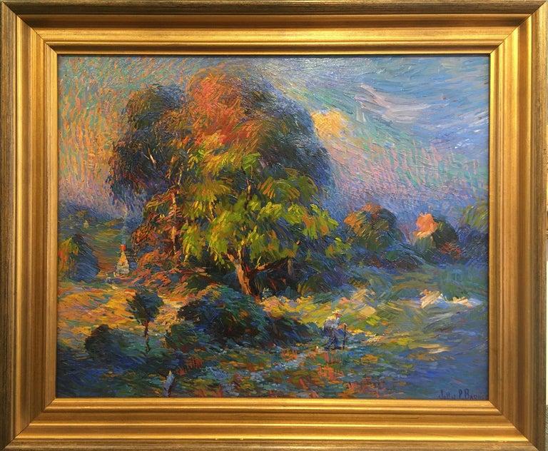 John Pierce Barnes, Afternoon Walk, Oil on Board - Painting by John Pierce Barnes
