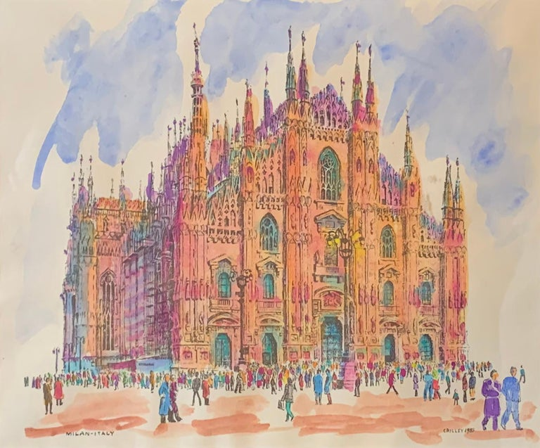 "Joseph Crilley, ""Cathedral, Milan"", Watercolor on Paper, 1983 - Art by Joseph Crilley"