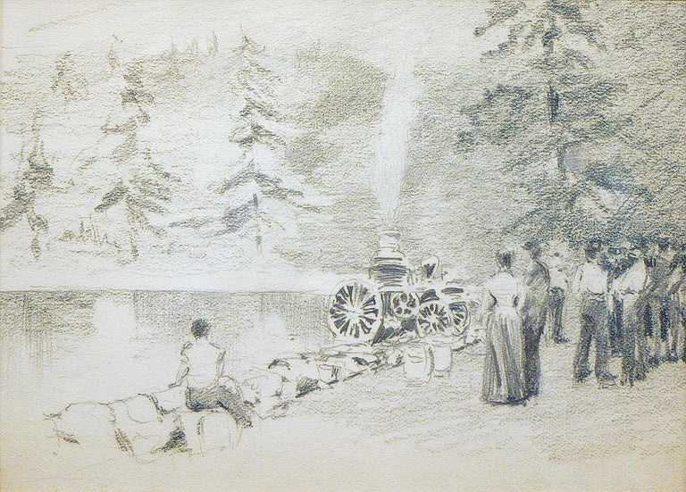 Henry Bayley Snell Landscape Art - Henry Snell, Figures with Firetruck, Pencil Drawing on Paper, c. 1899