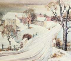 Arthur Meltzer, Winter Street Scene, Watercolor on Paper, Signed