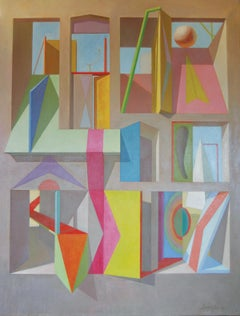 "Joseph Amarotico, ""Abstract"", Oil on Canvas, Architectural Surrealism. 1981"