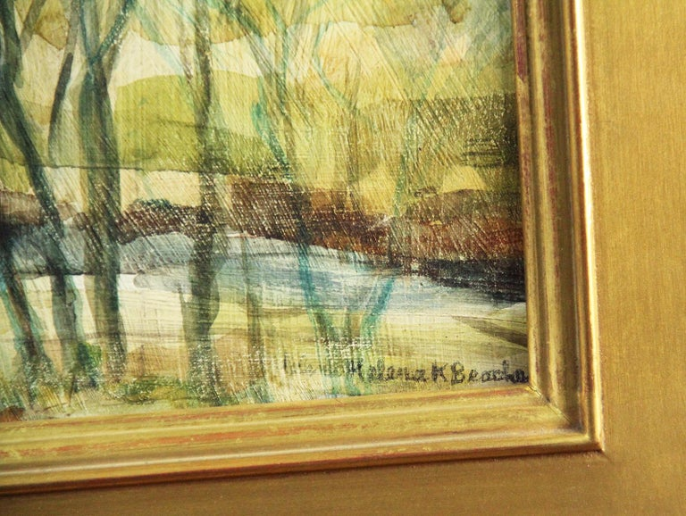 Helena Krause Beacham, Covered Bridge, Oil on Board, Signed - American Impressionist Painting by Helena Beacham