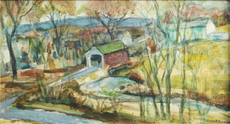 Helena Krause Beacham, Covered Bridge, Oil on Board, Signed - Painting by Helena Beacham