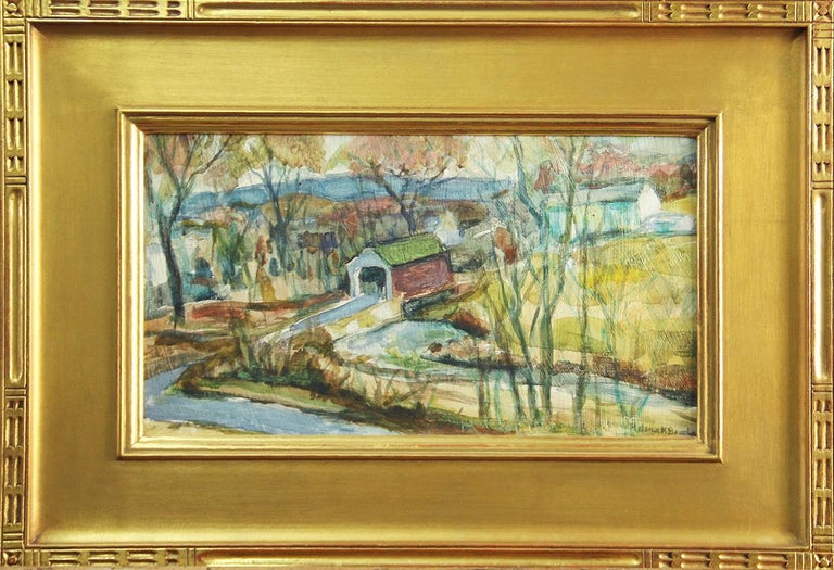Helena Beacham Landscape Painting - Helena Krause Beacham, Covered Bridge, Oil on Board, Signed