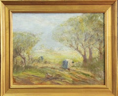 "Frank T. Ford,  ""In the Field, Spring"", Impressionist fieldworkers, 1913, Signed"
