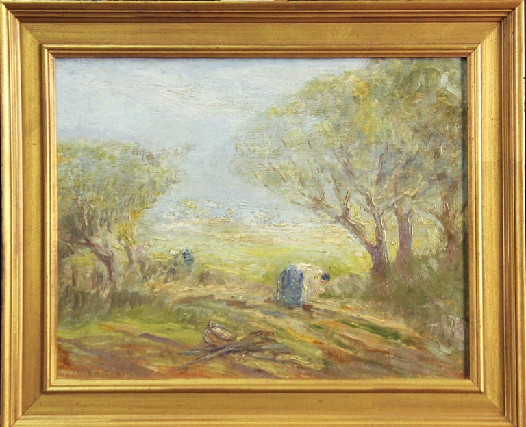 """Frank T. Ford,  """"In the Field, Spring"""", Impressionist fieldworkers, 1913, Signed - Painting by Frank T. Ford"""
