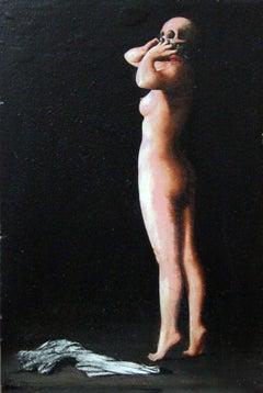 Raymond Douillet-Chevoleau, Strip-Tease, French, Oil on Panel